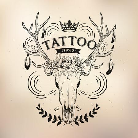 modèles de studio de tatouage sur fond sombre. Refroidir les emblèmes rétro style.