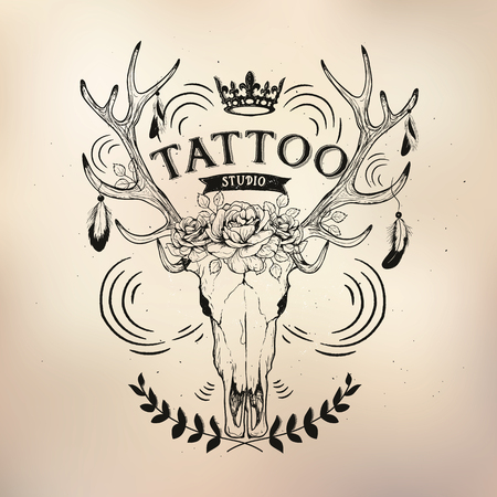 vodoo: tattoo studio templates on dark background. Cool retro styled emblems.