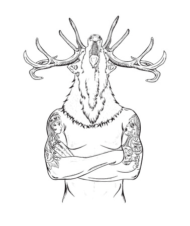 crown tattoo: flat cartoon hipster character, illustration man with tattoo