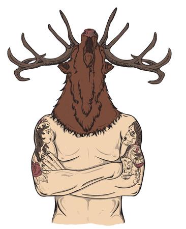 bearded man: flat cartoon hipster character, illustration man with tattoo