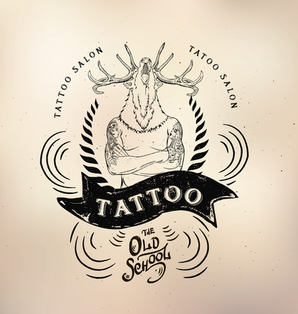 deer skull: tattoo studio templates on dark background. Cool retro styled emblems.