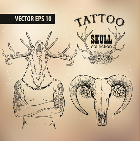 tattoo traditional: Set of Cool clip-art on the theme of Brutal Men. Tattoo-art design. New traditional tattoo style. Hand-drawn images. Good for printing on t-shirt. Easy to edit.