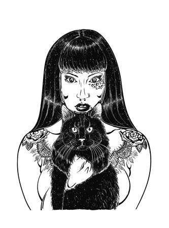 dead girl: Day of dead girl black and white illustration