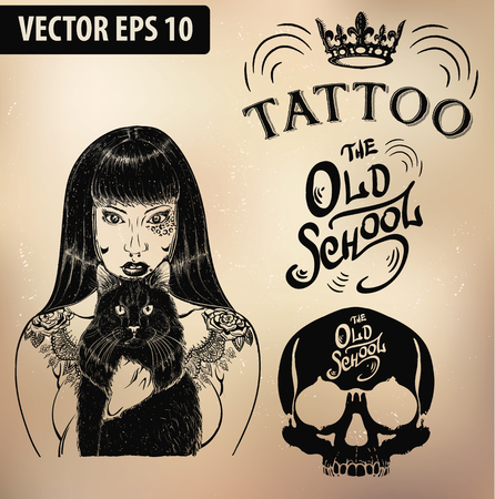 crown tattoo: tattoo studio templates on dark background. Cool retro styled emblems.