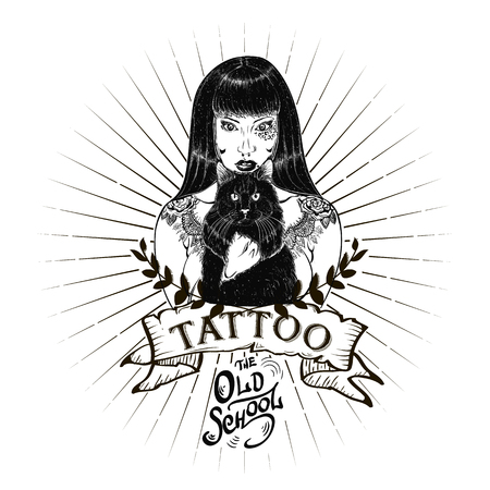 tattoo studio templates on dark background. Cool retro styled emblems.