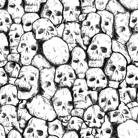 dirty teeth: Conjoined grungy stylized skull for prints and patterns