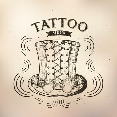 time machine: steampunk emblem hat for tattoo shops, salons, artists