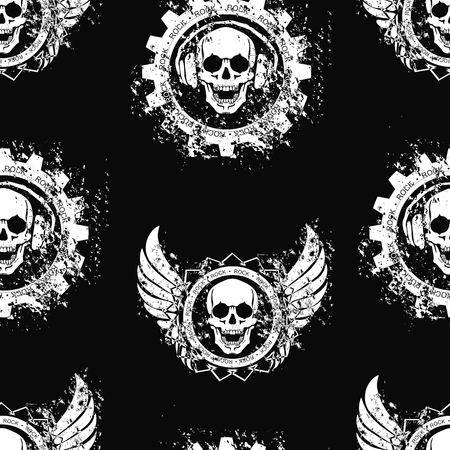 gangsters: Seamless pattern with the image of the skull in the headphones. Vector illustration.