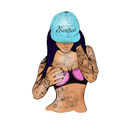 casual girl in a cap and tattoos Illustration