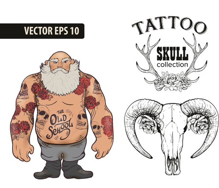 brutal: Set of Cool vector clip-art on the theme of Brutal Men. Tattoo art design. New traditional tattoo style. Hand-drawn vector images. Good for printing on t-shirt. Easy to edit. Tattoo font.