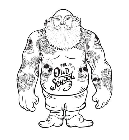 Męski brutalny człowiek z brodą w tatuażach