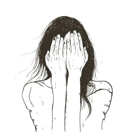 soltería: Vector de la muchacha hermosa en un estado de depresión llorando