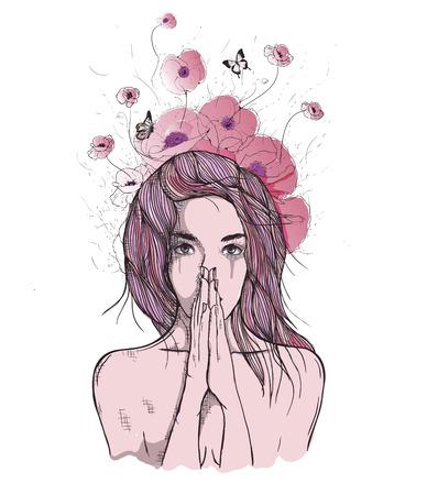 Vector art tekening, portret van droevig en depressief meisje, denken over iets. Gezichtsuitdrukkingen, mensen emoties, romantische en tedere jonge vrouw. Stock Illustratie