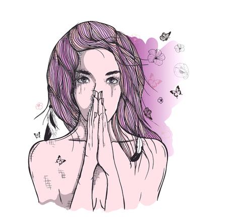 femme dessin: Vector art dessin, portrait triste et déprimé fille, penser à quelque chose. Les expressions faciales, les gens émotions, romantique et tendre jeune femme.