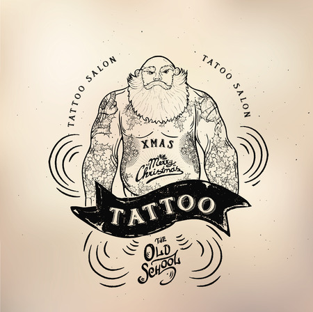 Vector tattoo logo studio modèles sur fond sombre. Rétro cool style emblèmes vectorielles.