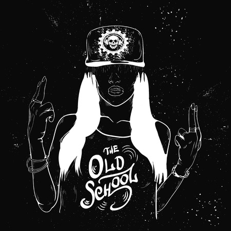 tattoo girl: Rap music girl. Pretty Young Urban Rap Girl. Lady Vector artwork, text can be removed. Doodle art isolated on white background. Face emotion illustration.
