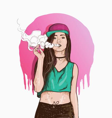 Vape Swag Girl Illustration