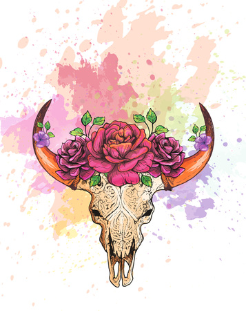 Skull of a cow with horns, decorated with flowers