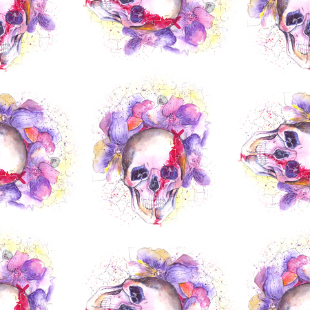 Skull and Flowers Stock Photo