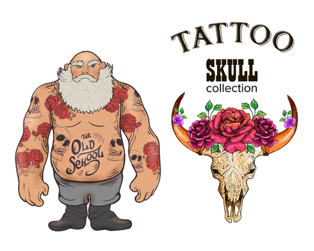 Set of Cool vector clip-art on the theme of Brutal Men. Tattoo art design. New traditional tattoo style. Vector illustration, bright color Hand Drawn Vintage Illustration In Boho, Hipster And Rustic Style with flowers roses and feathers in the style
