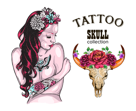 Flower Tattoo Design Shop Tattooed Lady, Skull of a cow with horns, decorated with flowers Illustration
