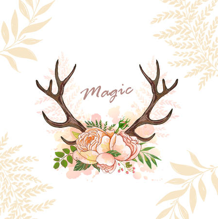 Magic horn deer Ilustração Vetorial