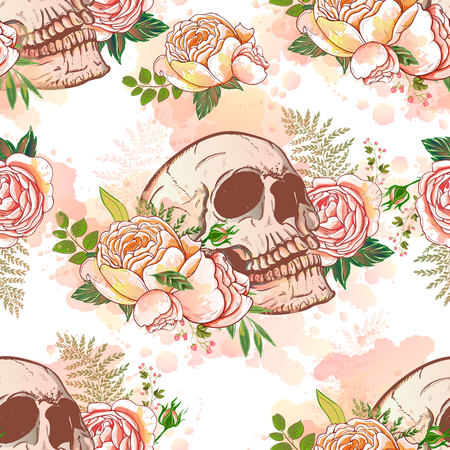 A vector seamless with roses and skulls skull illustration.