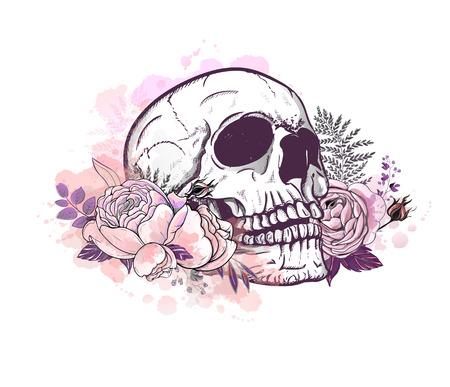Skull with roses Illustration