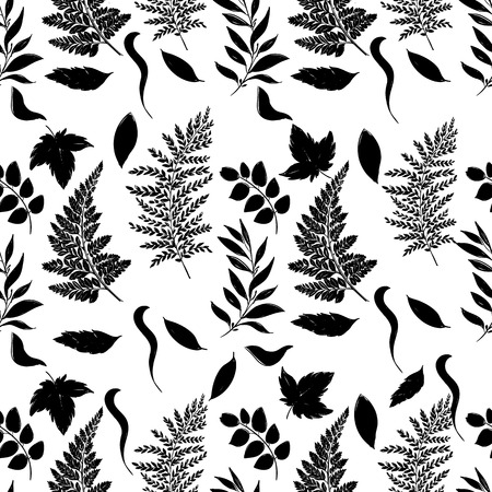 black family: Hand drawn vector seamless pattern with floral elements. Vector pattern with leaves, twigs, branches, berries, grass. Black and white. Illustration