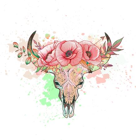 Skull of a cow with horns poppy Ilustração
