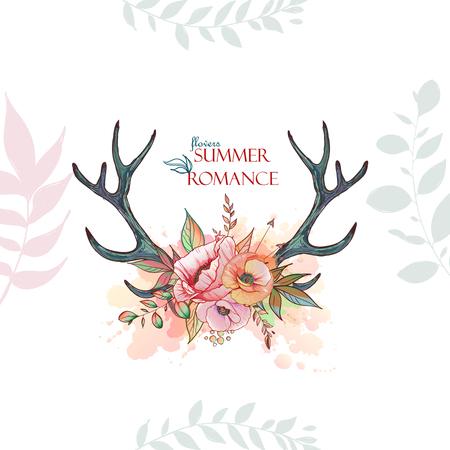 deer antler with a wreath of flowers Stock Illustratie