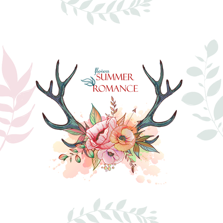 deer antler with a wreath of flowers Illustration