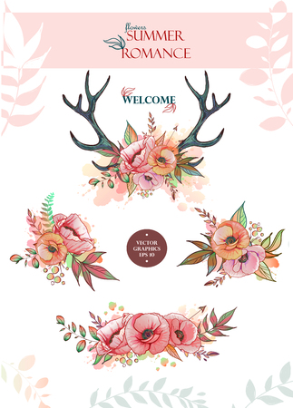Illustration of a deer skull with poppy. Vector element for tattoo sketch, printing on T-shirts, postcards and your creativity Illustration