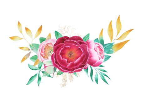 Bouquet of flowers peonies roses watercolor Stock fotó