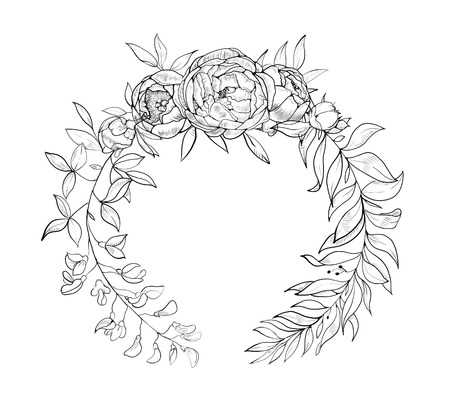 Floral wreath. Black and white. Good for wedding card, invitation, greetings. Vector vintage round frame with flowers. 向量圖像