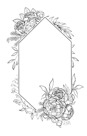 Vintage frame of peonies in botanical style