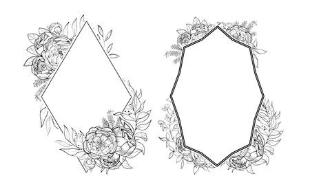 Vintage frames of peonies in botanical style