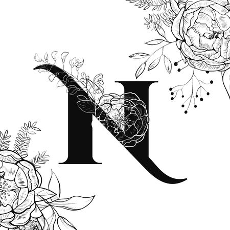 Flower alphabet. Letter N pattern