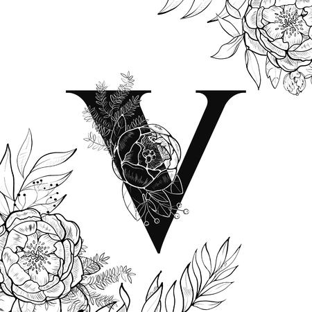 Fancy floral alphabet letter V