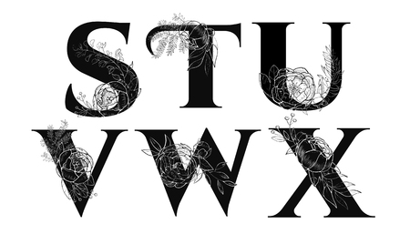 Vintage flower alphabet illustration on white background. Archivio Fotografico - 100751958