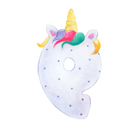 Cartoon figure nine for a unicorn party
