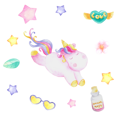 set of unicorn party Stock Photo