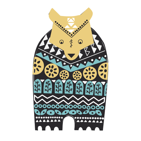 Ornamental hand drawn illustration with animal and floral elements. Folk art , ethnic style. Cute bear in sweater