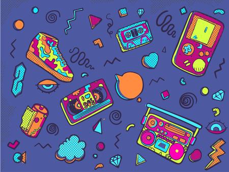 Ilustración de vector aislado sobre fondo blanco. Juego de pegatinas, alfileres, parches en el moderno estilo memphis de los 80-90. Parche insignias con labios, triángulo, zapatilla de deporte, gorra, casete de audio, casete de video, película, tetris