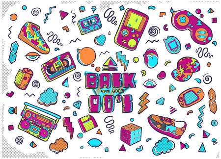 Set of fashion patches, cute badges, fun icons vector Stockfoto - 127594049