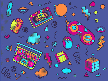 Vector illustration isolated on white background. Set of stickers, pins, patches in trendy 80s-90s style. Patch badges with lips, triangle, sneaker, cap, audio cassette, video cassette, film