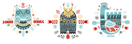 Scandinavian, Nordic style. Ornamental hand drawn owl, hare, bear, swan - Vector illustration - doodle style. Inspired folk art pattern.
