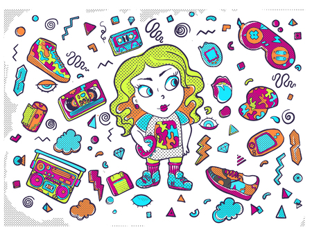 Vector illustration isolated on white background. Set of stickers, pins, patches in cartoon 80s-90s pop-art style.