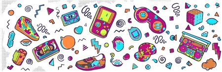 Set of fashion patches, cute badges, fun icons vector Stock Illustratie