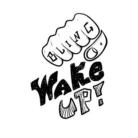Decorative inscription Wake Up. Street style type for poster cover print clothes pin patch sticker. Modern vector illustration flat design.